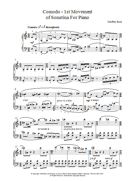 Geoffrey Bush Comodo - 1st movement of Sonatina for Piano sheet music notes and chords. Download Printable PDF.