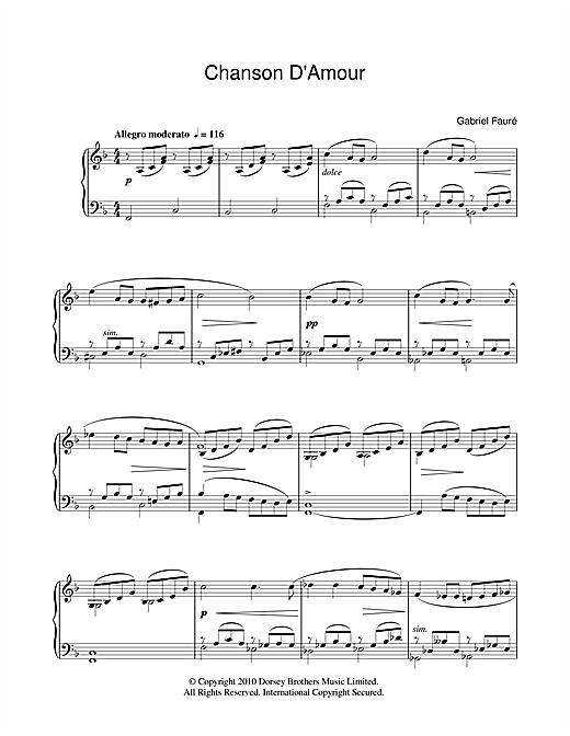 Gabriel Fauré Chanson D'Amour sheet music notes and chords. Download Printable PDF.