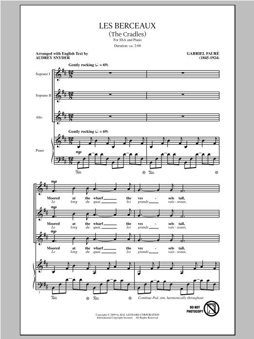 Gabriel Fauré Les Berceaux (The Cradles) (arr. Audrey Snyder) sheet music notes and chords. Download Printable PDF.