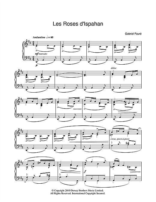Gabriel Fauré Les Roses D'Ispahan sheet music notes and chords. Download Printable PDF.