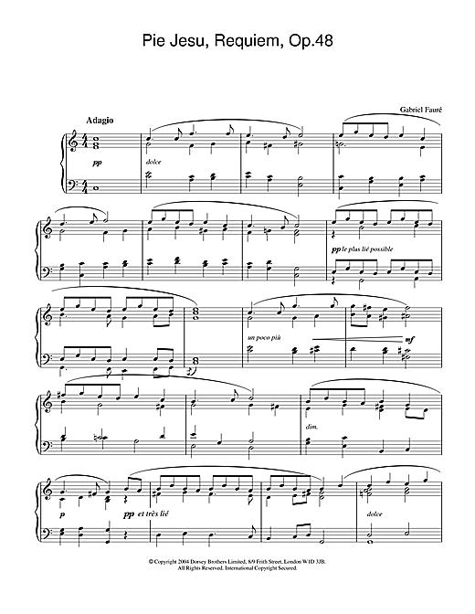 Gabriel Fauré Pie Jesu (from Requiem, Op.48) sheet music notes and chords