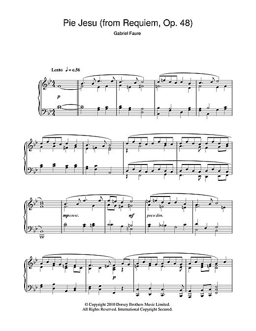 Gabriel Fauré Pie Jesu (from Requiem, Op. 48) sheet music notes and chords