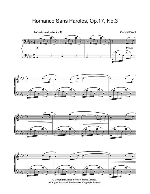 Gabriel Fauré Romance Sans Paroles Op.17, No.3 sheet music notes and chords