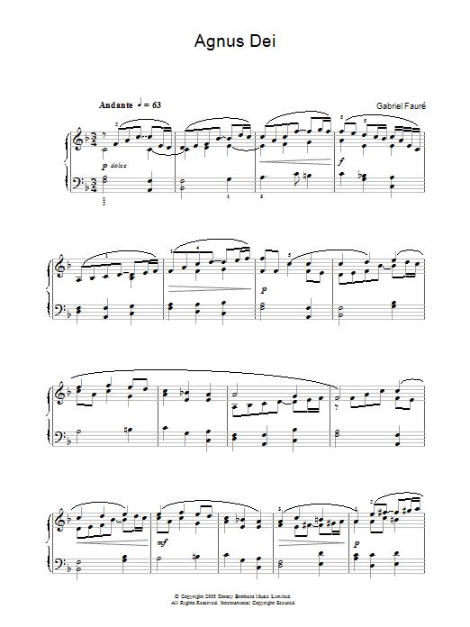 Gabriel Fauré Agnus Dei (from Requiem) sheet music notes and chords. Download Printable PDF.