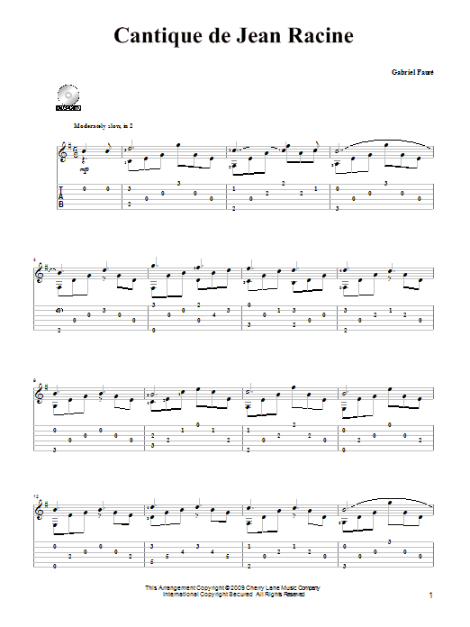 faure cantique de jean racine free sheet music