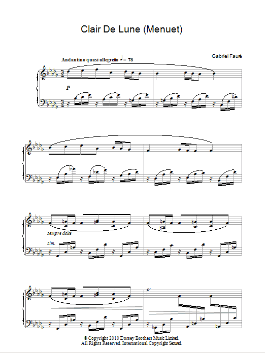 Gabriel Fauré Minuet From Clair De Lune sheet music notes and chords. Download Printable PDF.