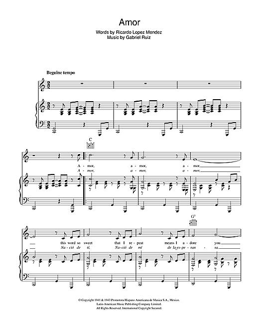 Gabriel Ruiz Amor sheet music notes and chords. Download Printable PDF.