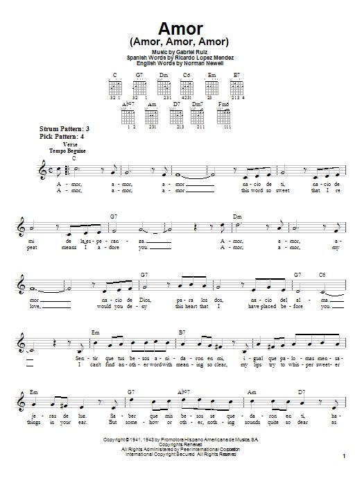 Gabriel Ruiz Amor (Amor, Amor, Amor) sheet music notes and chords. Download Printable PDF.