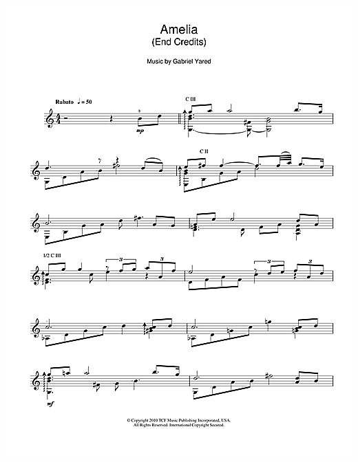 Gabriel Yared Amelia (End Credits) sheet music notes and chords