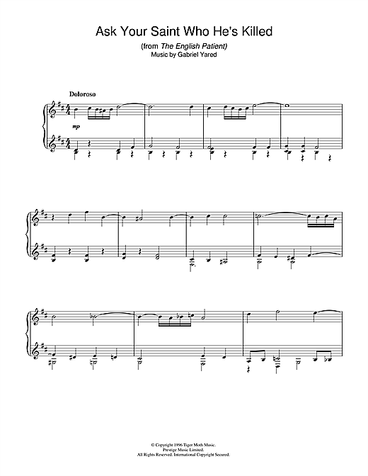 Gabriel Yared Ask Your Saint Who He's Killed (from The English Patient) sheet music notes and chords