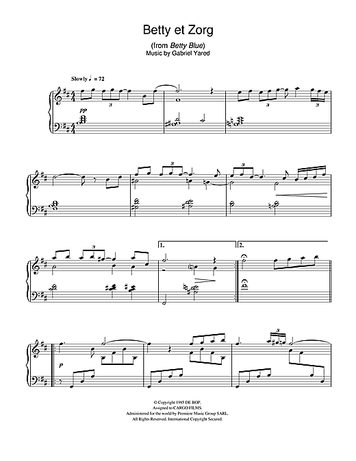 Gabriel Yared Betty et Zorg (from Betty Blue) sheet music notes and chords. Download Printable PDF.