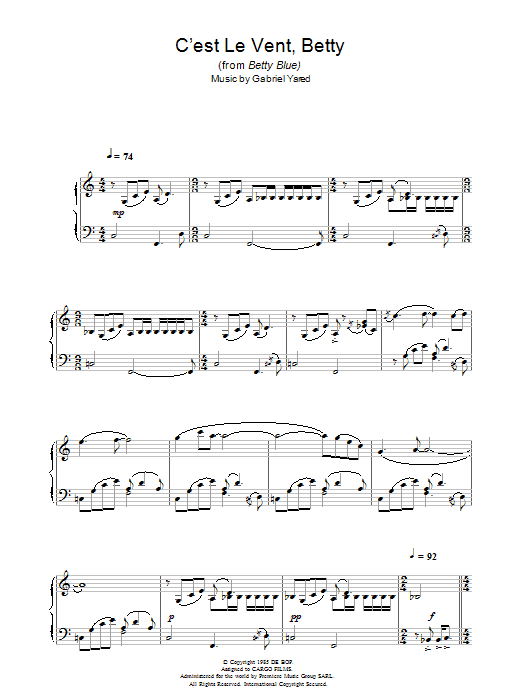 Gabriel Yared C'est Le Vent Betty (from Betty Blue) sheet music notes and chords. Download Printable PDF.