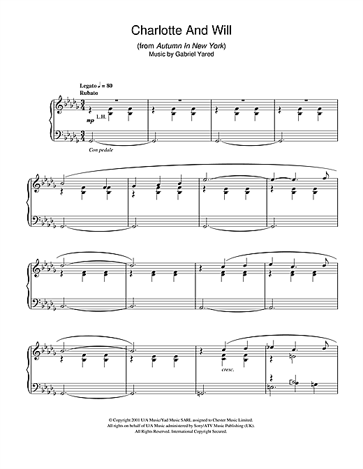 Gabriel Yared Charlotte And Will (from Autumn In New York) sheet music notes and chords. Download Printable PDF.