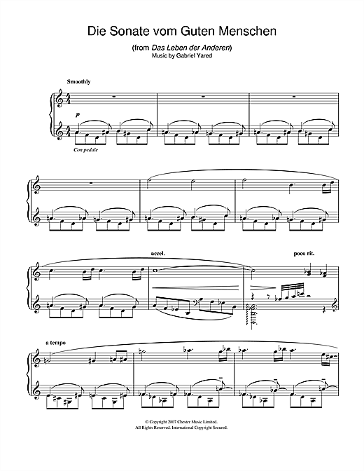 Gabriel Yared Die Andere Sonate (from Das Leben der Anderen) sheet music notes and chords. Download Printable PDF.