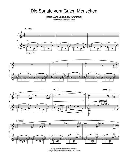 Gabriel Yared Die Andere Sonate (from Das Leben der Anderen) sheet music notes and chords