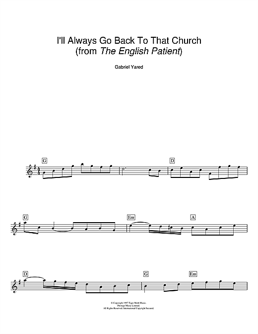 Gabriel Yared I'll Always Go Back To That Church (from The English Patient) sheet music notes and chords. Download Printable PDF.