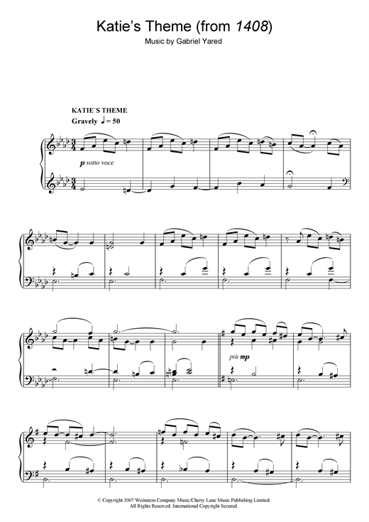 Gabriel Yared Katie's Theme (from 1408) sheet music notes and chords. Download Printable PDF.