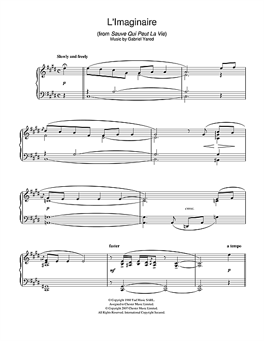 Gabriel Yared L'Imaginaire (from Sauve Qui Peut La Vie) sheet music notes and chords