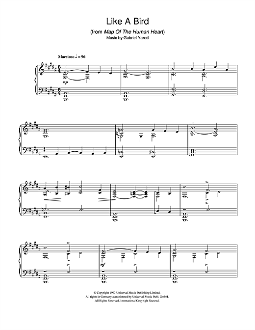 Gabriel Yared Like A Bird (from Map Of The Human Heart) sheet music notes and chords. Download Printable PDF.