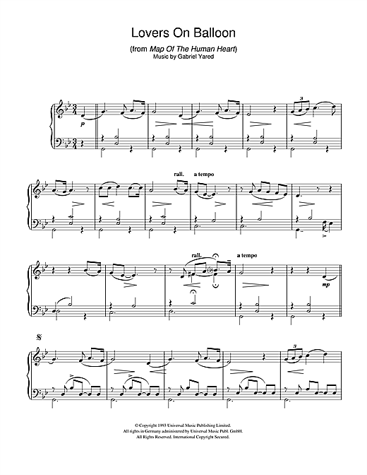 Gabriel Yared Lovers On Balloon (from Map Of The Human Heart) sheet music notes and chords. Download Printable PDF.
