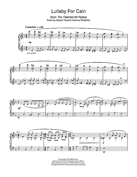 Gabriel Yared Lullaby For Cain (from The Talented Mr Ripley) sheet music notes and chords