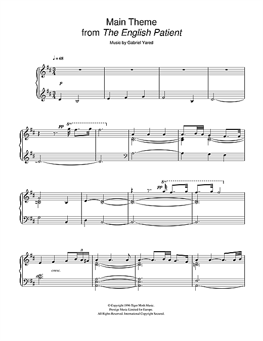 Gabriel Yared Main Theme (from The English Patient) sheet music notes and chords