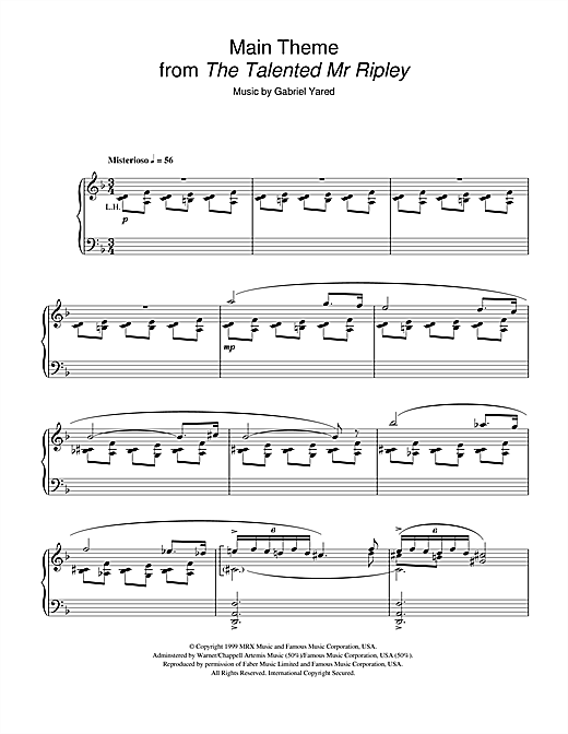 Gabriel Yared Main Theme (from The Talented Mr Ripley) sheet music notes and chords. Download Printable PDF.