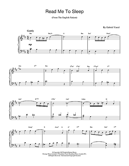 Gabriel Yared Read Me to Sleep (from The English Patient) sheet music notes and chords