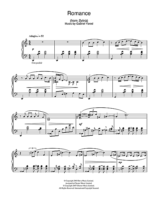 Gabriel Yared Romance (from Sylvia) sheet music notes and chords