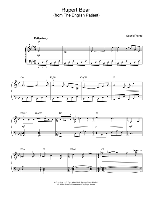 Gabriel Yared Rupert Bear (from The English Patient) sheet music notes and chords