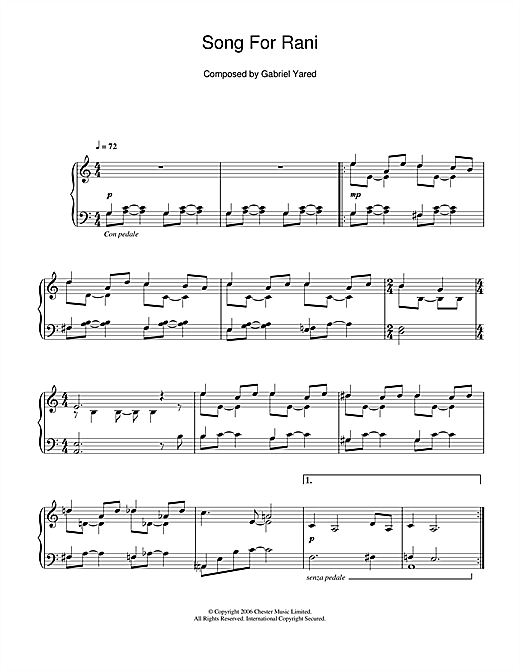 Gabriel Yared Song For Rani sheet music notes and chords. Download Printable PDF.