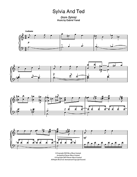 Gabriel Yared Sylvia and Ted (from Sylvia) sheet music notes and chords