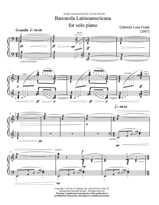 Gabriela Lena Frank Barcarola Latinoamericana sheet music notes and chords. Download Printable PDF.