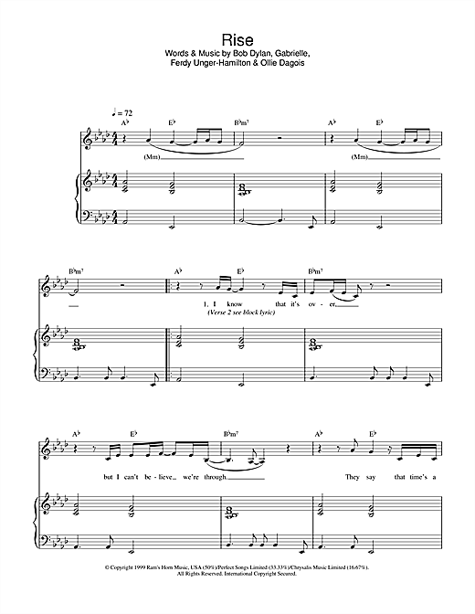 Gabrielle Rise sheet music notes and chords
