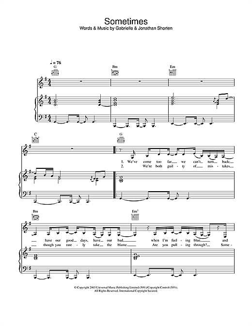 Gabrielle Sometimes sheet music notes and chords. Download Printable PDF.