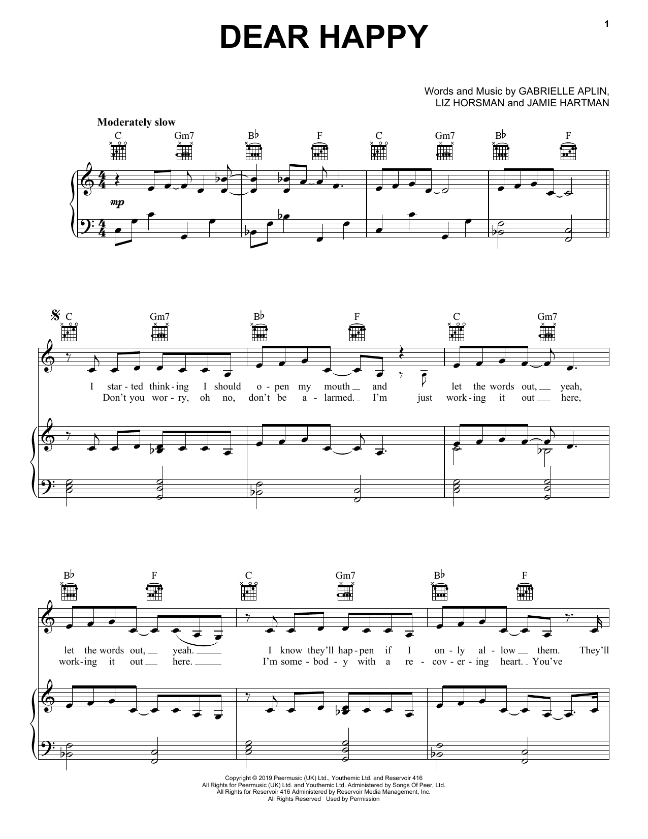 Gabrielle Aplin Dear Happy sheet music notes and chords. Download Printable PDF.