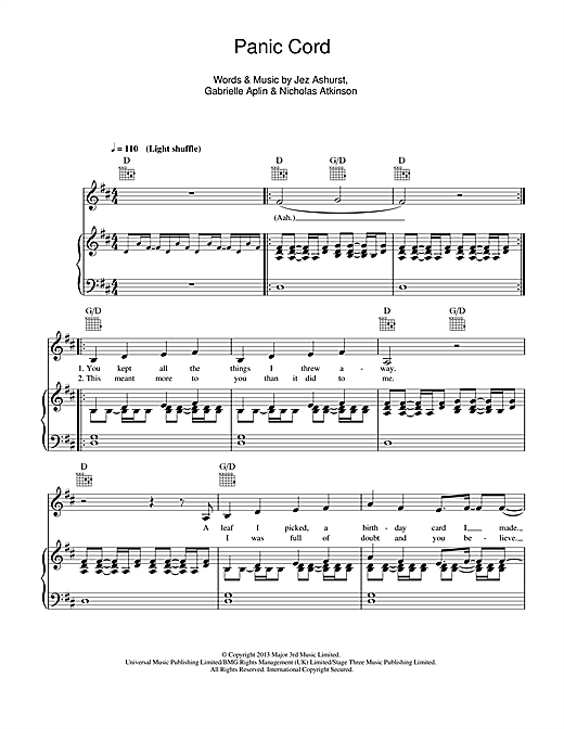 Gabrielle Aplin Panic Cord sheet music notes and chords. Download Printable PDF.