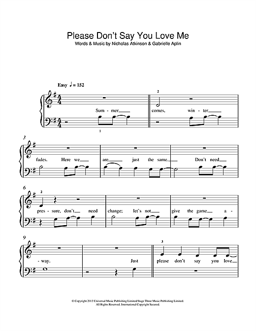 Gabrielle Aplin Please Don't Say You Love Me sheet music notes and chords. Download Printable PDF.