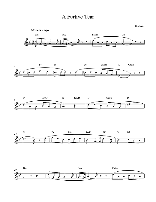 Gaetano Donizetti A Furtive Tear sheet music notes and chords. Download Printable PDF.