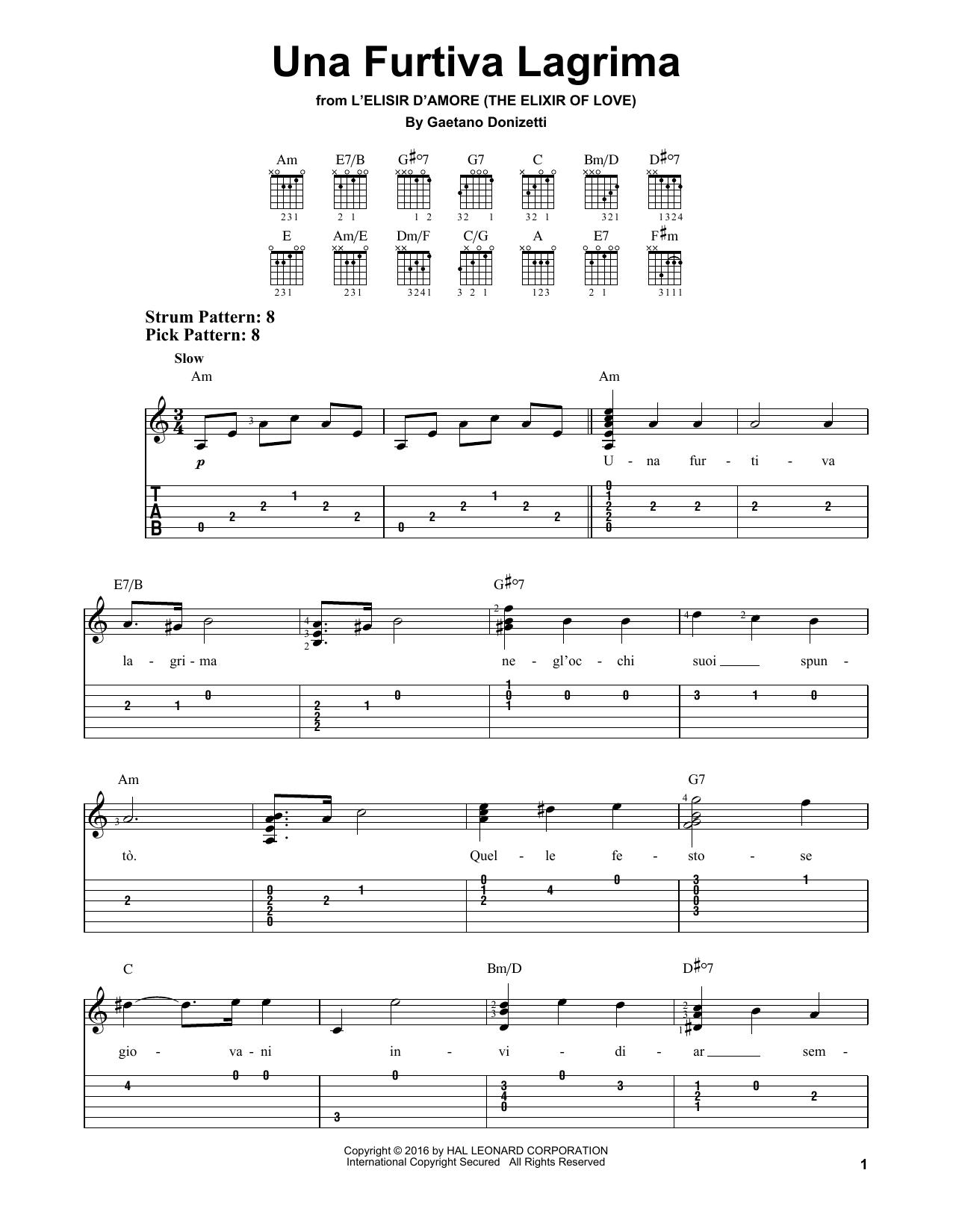 Gaetano Donizetti Una Furtiva Lagrima sheet music notes and chords. Download Printable PDF.