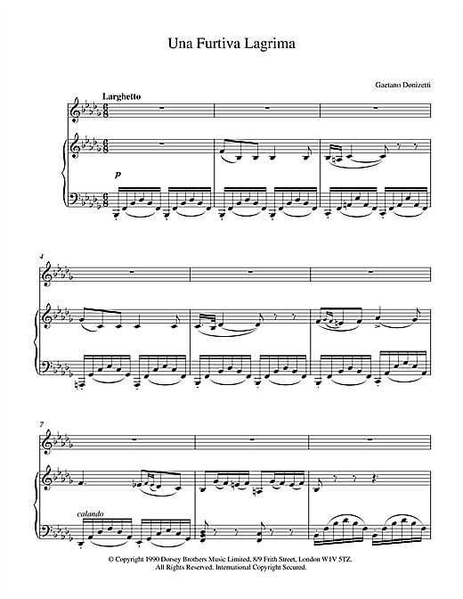 Gaetano Donizetti Una Furtiva Lagrima (A Furtive Tear) sheet music notes and chords. Download Printable PDF.