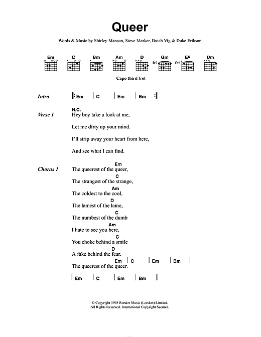 Garbage Queer sheet music notes and chords. Download Printable PDF.
