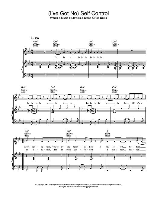 Gareth Gates (I've Got No) Self Control sheet music notes and chords