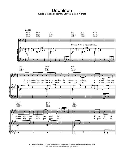 Gareth Gates Downtown sheet music notes and chords