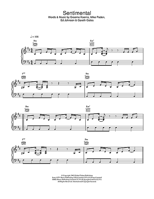 Gareth Gates Sentimental sheet music notes and chords. Download Printable PDF.