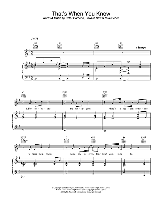 Gareth Gates That's When You Know sheet music notes and chords. Download Printable PDF.