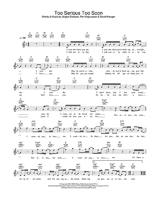 Gareth Gates Too Serious Too Soon sheet music notes and chords. Download Printable PDF.