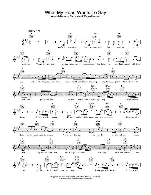 Gareth Gates What My Heart Wants To Say sheet music notes and chords. Download Printable PDF.