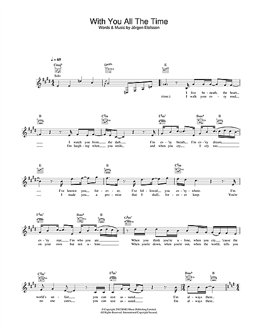 Gareth Gates With You All The Time sheet music notes and chords. Download Printable PDF.
