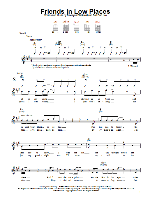 Garth Brooks Friends In Low Places sheet music notes and chords